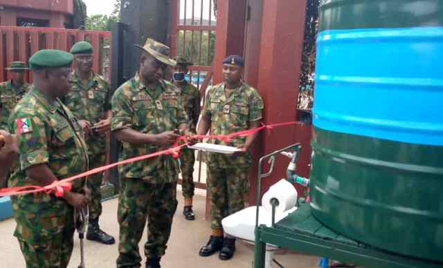 COVID-19 9 Brigade supports Ikeja Army cantonment community with water point hand washing machine